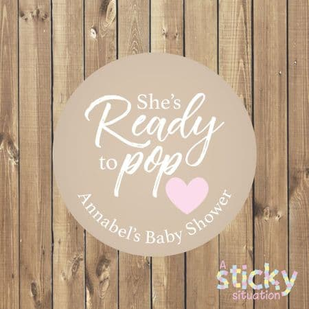 Personalised 'Ready to Pop' Baby Shower Stickers - Classic Beige and Pink Design