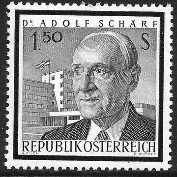 Austria stamp, 1965, SG1441  1s50 Blue and Black, Dr Adolf Scharf, unmounted mint