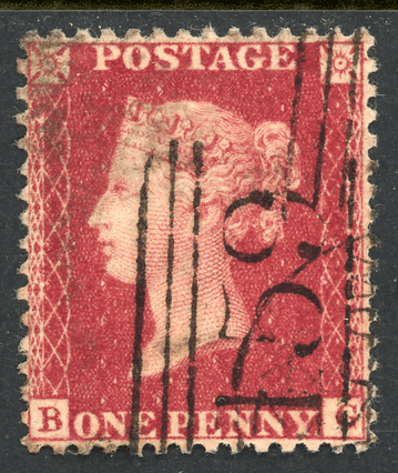 GB stamp, 1856-58, Queen Victoria SG41 C10/4, 1d deep rose-red, plate 47, Chard