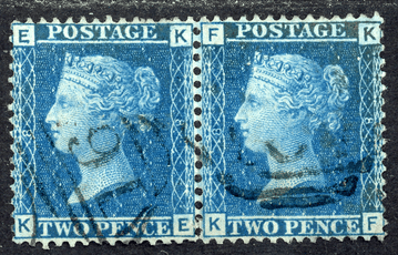 GB stamp, 1858-76, Queen Victoria SG45, 2d Blue, Pl 8, pair letters  K-E/K-F