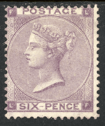 GB stamp, 1862-64, Queen Victoria SG84 - J71, 6d Lilac, Plate 3, m/mint