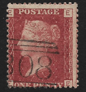 GB stamp, 1864, Queen Victoria SG43/44, 1d rose/lake red, Plate 100, Stirling