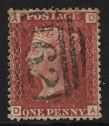 GB stamp, 1864, Queen Victoria SG43/44, 1d rose/lake red, Plate 102, Cardiff