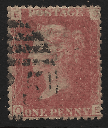 GB stamp, 1864, Queen Victoria SG43/44, 1d rose/lake red, Plate 121 letters  O-E