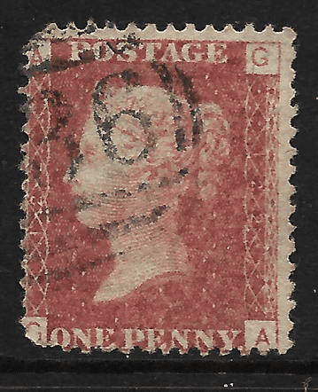 GB stamp, 1864, Queen Victoria SG43/44, 1d rose/lake red, Plate 122, letters  G-A
