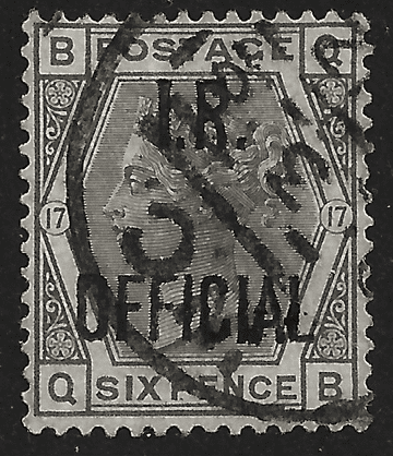 GB stamp, 1873-80, Queen Victoria SG147 6d grey, IR Official, forgery
