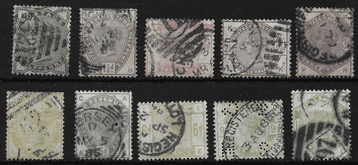 GB stamp, 1883, Queen Victoria SG187-196, Set of 10, used.