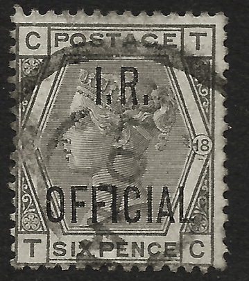 GB stamp, 1885, Queen Victoria SG O04, 6d grey (plate 18), overprinted I.R. Official, used
