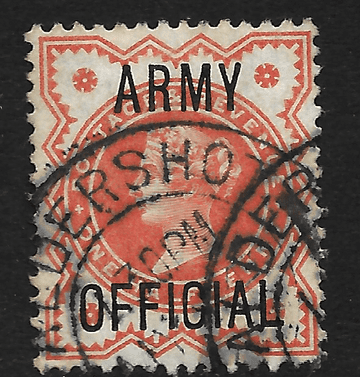 GB stamp, 1896, Queen Victoria SG O41, 0.5d vermilion, overprinted Army Official used,