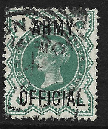 GB stamp, 1896, Queen Victoria SG O42, 0.5d blue-green, overprinted Army Official used