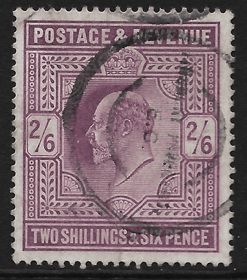 GB stamp, 1902-10, King Edward VII SG260, 2s6d, Lilac, used.
