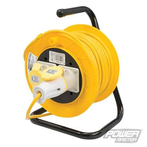 110V - Cable Reel Extension Lead - 25m - 2 Sockets