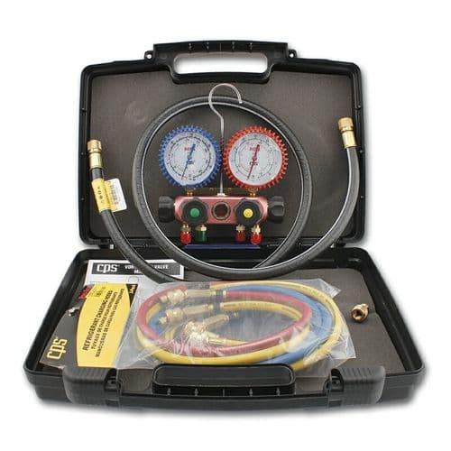CPS Manifold Gauge Set 4 Hoses 4-way R410a R32 Vortech MV12EJ5EC