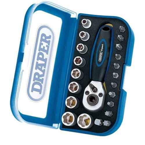 "Expert 1/4"" Square Drive 22 Piece Double Driver Socket and Bit Set"
