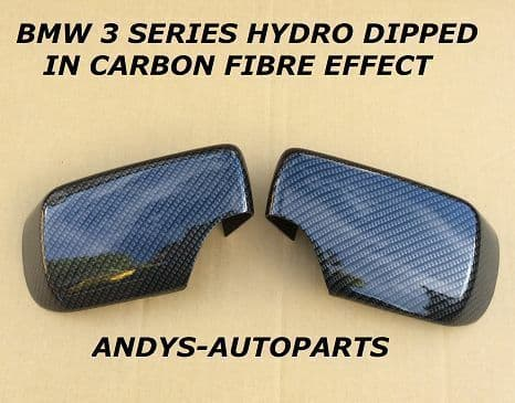 BMW 3 SERES E46 01 - 05 PAIR OF WING MIRROR COVER L/H & R/H  CARBON FIBRE EFFECT (1)