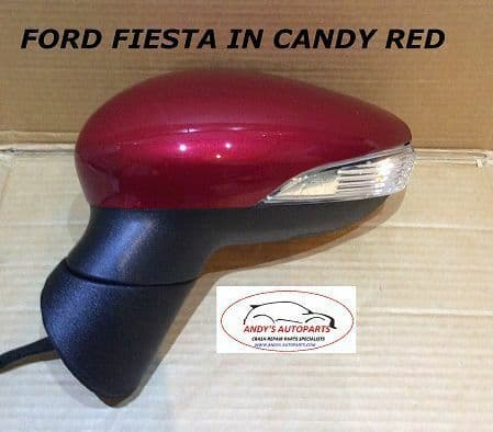 FORD FIESTA 08- 12 COMPLETE WING MIRROR POWER FOLDING LH OR RH IN CANDY RED