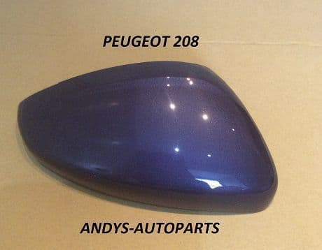 PEUGEOT 308. 2013 ONWARD GENUINE WING MIRROR COVER L/H OR R/H IN VIRTUAL BLUE