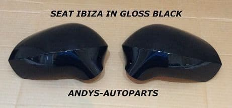 SEAT IBIZA 08 ONWARDS PAIR OF WING MIRROR COVERS IN GLOSS BLACK L/H AND R/H