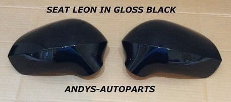 SEAT LEON 09-12 PAIR OF WING MIRROR COVERS  IN GLOSS BLACK L/H AND R/H