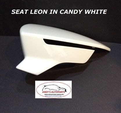SEAT LEON 2012 ONWARDS WING MIRROR COVER R/H OR L/H SIDE IN SEAT CANDY WHITE