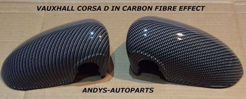 VAUXHALL CORSA D 06 ONWARDS PAIR OF WING MIRROR COVERS IN CARBON FIBRE EFFECT