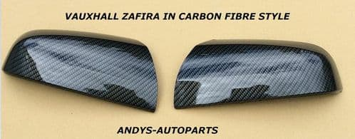 VAUXHALL ZAFIRA WING MIRROR COVER 2005 - 2009 PAIR OF CARBON FIBRE EFFECT