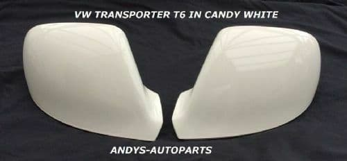 VW TRANSPORTER T5.1 09-2011 PAIR OF WING MIRROR COVERS IN CANDY WHITE