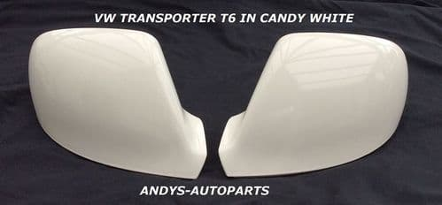 VW TRANSPORTER T6 10 ONWARDS PAIR OF WING MIRROR COVERS IN CANDY WHITE