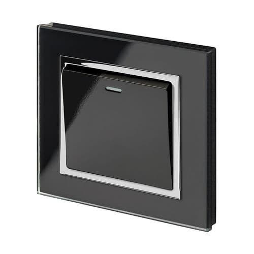 RetroTouch 1 Gang 1 or 2 Way 10A Rocker Light Switch Black Glass CT 00201