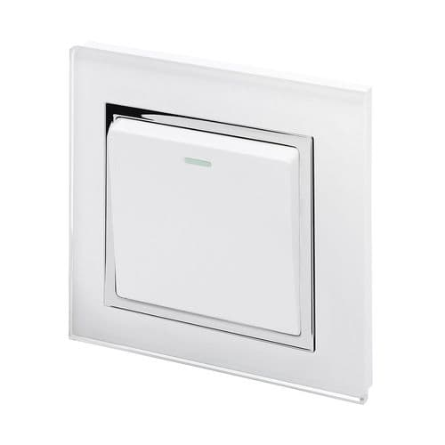 RetroTouch 1 Gang 1 or 2 Way 10A Rocker Light Switch White Glass CT 00191
