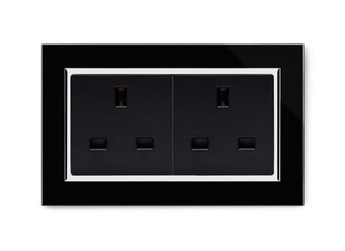 RetroTouch 13A Double Plug Socket Unswitched Black Glass CT 00653