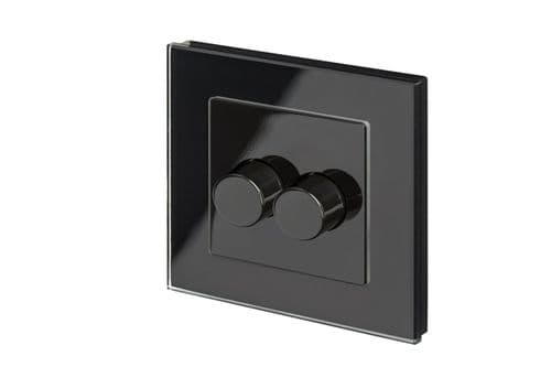 RetroTouch 2 Gang 2 Way Dimmer Switch 3-200W LED & Halogen Black Glass PG 02063