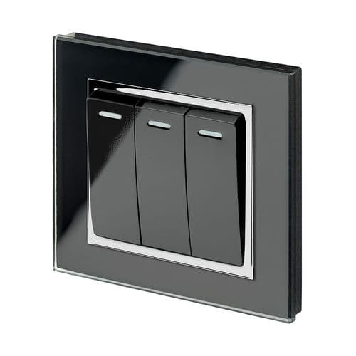 RetroTouch 3 Gang 1 Way 10A Pulse/Retractive Light Switch Black Glass CT 00245