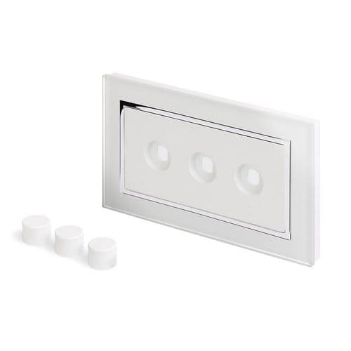 RetroTouch 3 Gang LED Dimmer Plate White Glass CT 02090