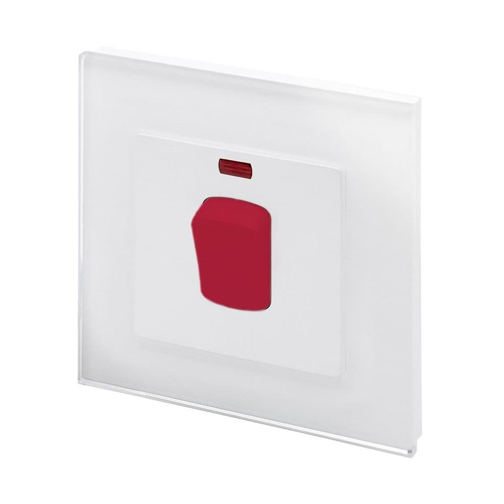 RetroTouch 45 Amp Double Pole Cooker Switch White Glass PG 01711