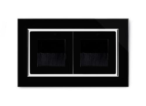 RetroTouch Double Brush Outlet Socket Black Glass CT 04113