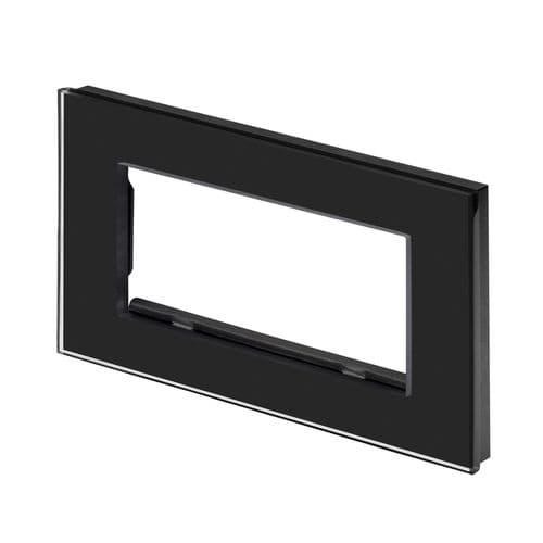 RetroTouch Euro Data Plate Double (4 Module Space) Black Glass PG 00179