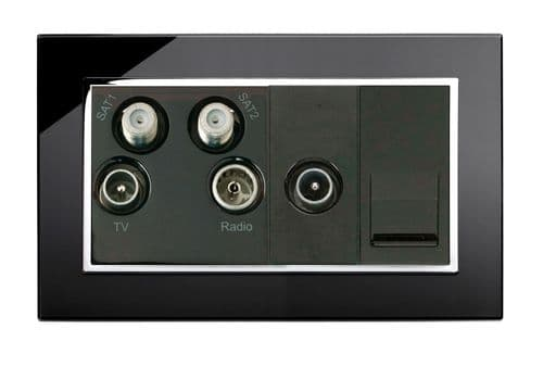 RetroTouch Media Panel - SAT / TV / VHF Double Plate Black Glass CT 04313