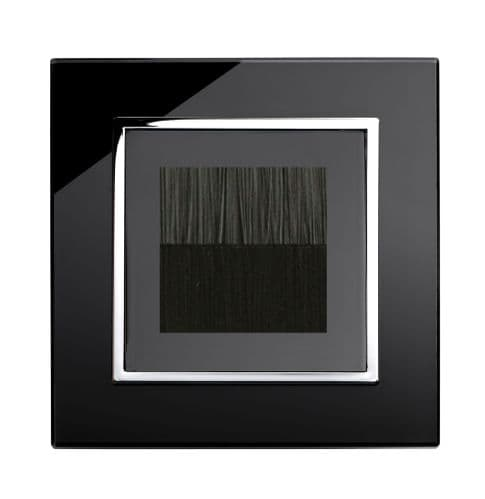 RetroTouch Single Brush Outlet Socket Black Glass CT 04098