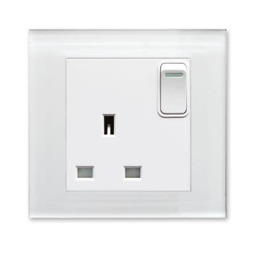 RetroTouch Single Switched Plug Socket 13A White Glass PG 00165