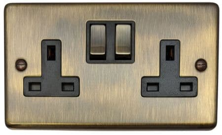 G&H CAB310 Standard Plate Antique Bronze 2 Gang Double 13A Switched Plug Socket