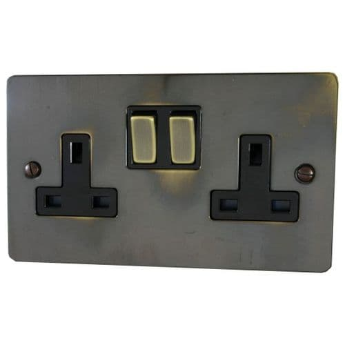G&H FAN310 Flat Plate Polished Aged Brass 2 Gang Double 13A Switched Plug Socket