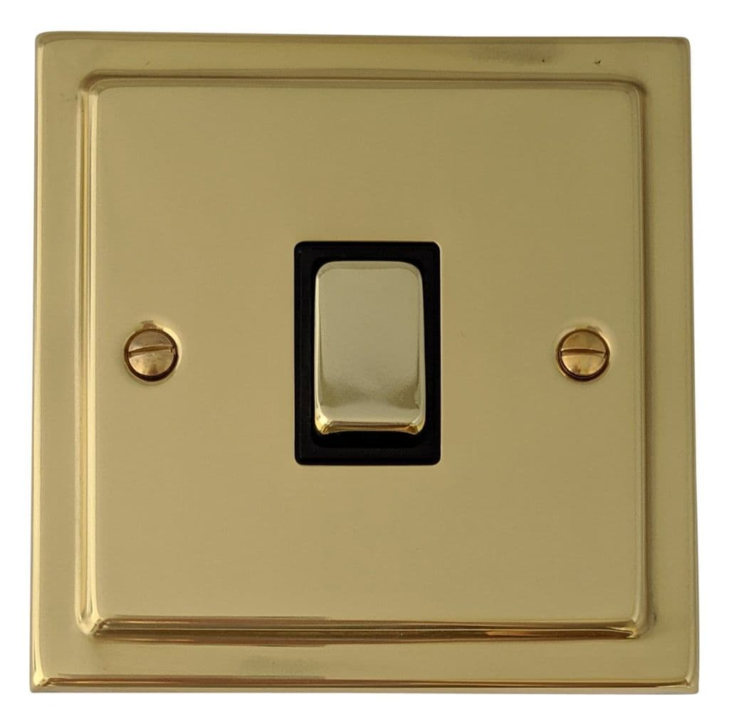 G/&H TB11 Trimline Plate Polished Brass 1 Gang 1 or 2 Way 40-400W Dimmer Switch
