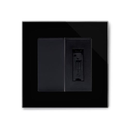 RetroTouch 13A Unswitched Fused Spur Black Glass PG 04324
