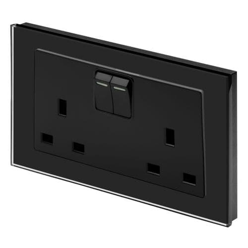 RetroTouch Double Switched Plug Socket 13A Black Glass PG 00651