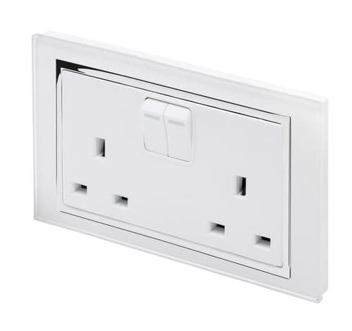 RetroTouch Double Switched Plug Socket 13A White Glass CT 00650