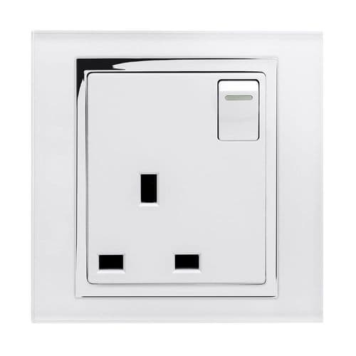 RetroTouch Single Switched Plug Socket 13A White Glass CT 00164