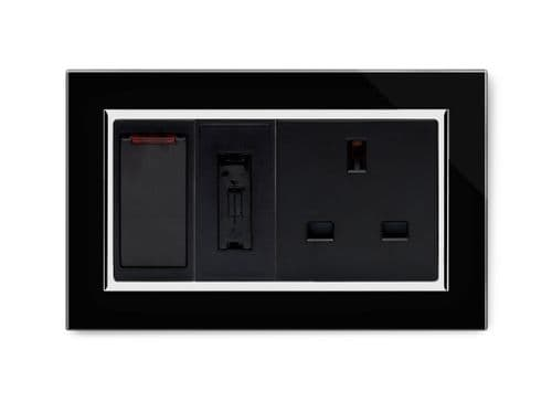 RetroTouch Switched Fused Spur with 13a Unswitched Socket CT Black 01101