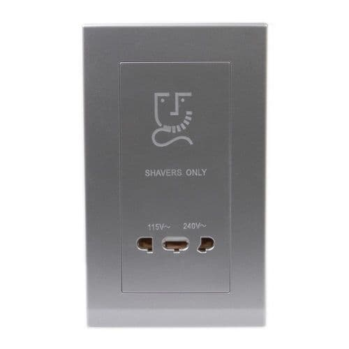 Simplicity Grey Screwless Dual Voltage Shaver Outlet 08032