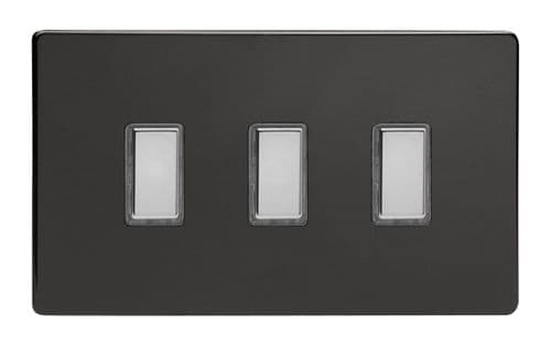 Varilight JDLES003S Screwless Premium Black 3 Gang Touch Dimming Slave (use with V-Pro Master)